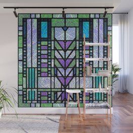 Aqua and Green Art Deco Stained Glass Design Wall Mural