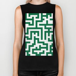 White and Cadmium Green Labyrinth Biker Tank