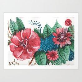 Ruby Botanical Floral Watercolor Art Print