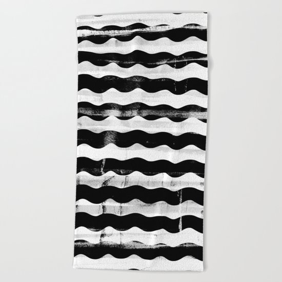 Black Waves Beach Towel