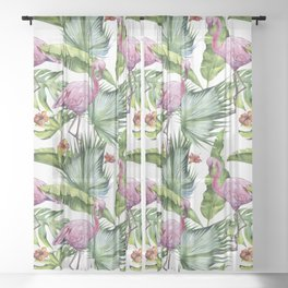 Flamingo Jungle #society6 #buyart Sheer Curtain