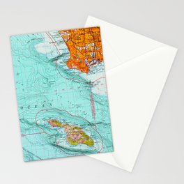 Long Beach colorful old map Stationery Cards