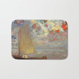 """Odilon Redon """"La Barque Aux Deux Femmes Blanches"""" Bath Mat"""