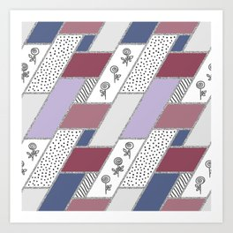 Abstract hand drawn geometric pattern with glitter pink and blue Art Print