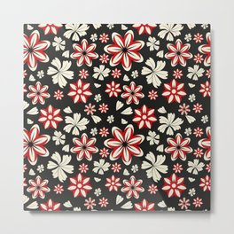 Floral pattern with leaves and flowers doodling style Metal Print