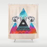 fierce Shower Curtains featuring Fierce Lion by Kangarui