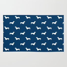 Dachshund pattern minimal navy blue and white dog lover home decor gifts accessories silhouette Rug