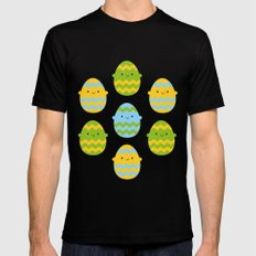 Kawaii Easter Eggs Mens Fitted Tee Black MEDIUM