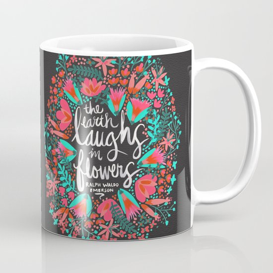 The Earth Laughs in Flowers – Pink & Charcoal Mug