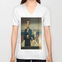 scarface V-neck T-shirts featuring SCARFACE by I Love Decor
