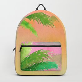 Watercolor Palm Tree Sunset Backpack