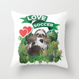 Soccer player Football Sloth Zoo animal Throw Pillow