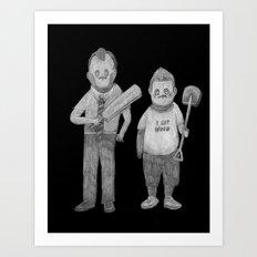 Zombies in my backyard: Rocky  Shaun of the Dead  Art Print