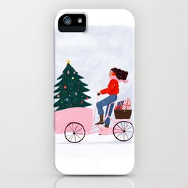 Christmas bicycle iPhone Case