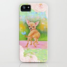 Chihuahua in the rose garden iPhone Case