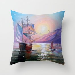 Returning to her native bay Throw Pillow