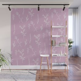Modern spring pink lavender floral twigs hand drawn pattern Wall Mural