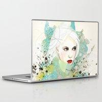 fashion illustration Laptop & iPad Skins featuring FASHION ILLUSTRATION 10 by Justyna Kucharska