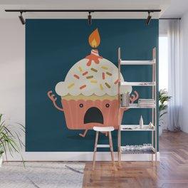 Cupcake on fire Wall Mural