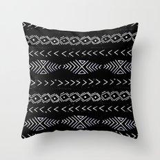 Mudcloth linocut design original black and white minimal inky texture pattern Throw Pillow