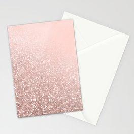 Rose Gold Sparkles on Pretty Blush Pink VI Stationery Cards