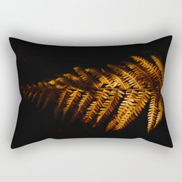 Minimalist Brown Autumn Fern Leaf Black Background Foliage Photography Rectangular Pillow