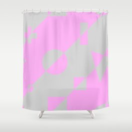 80s Throwback Pink and Grey Geometric Leotard Retro Pattern Shower Curtain