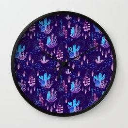 Neon Cacti Wall Clock