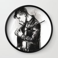 alex turner Wall Clocks featuring alex turner [5] by roanne Q