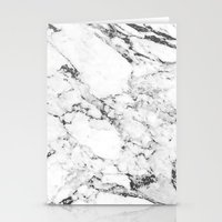 white marble Stationery Cards featuring Marble by MatiasMilton