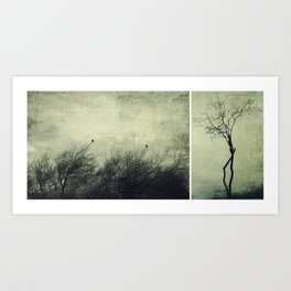 Nature diptych silhouettes Art Print