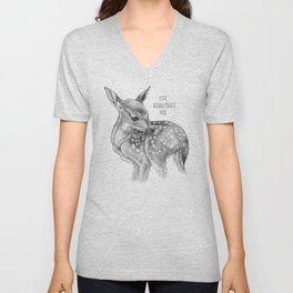 Deer Illustration By Magda Opoka | Animal | Black and White | bw | black-and-white | Animals Unisex V-Neck