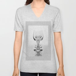 Three empty wine glasses in a row Unisex V-Neck
