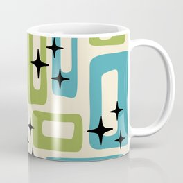 Retro Mid Century Modern Abstract Pattern 225 Blue and Green Coffee Mug