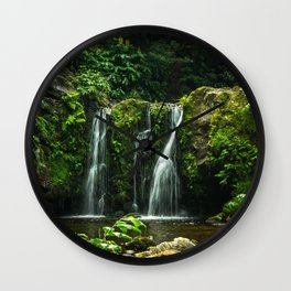 rock waterfall forest lake Portugal Parque Natural da Ribeira dos Caldeiroes Wall Clock
