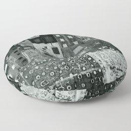 City Grid Pattern in Grays Floor Pillow