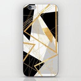 Black and Gold Geometric iPhone Skin