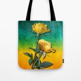 Gold Roses & Vibrant Watercolor Tote Bag