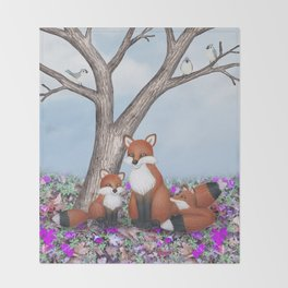 fox, cubs and tufted titmice Throw Blanket