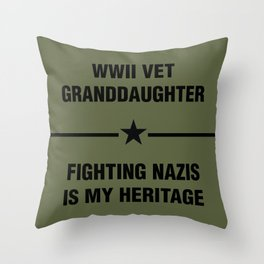 WWII Granddaughter Heritage Throw Pillow