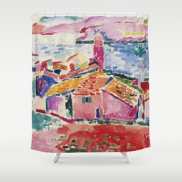 View of Collioure - Henri Matisse - Exhibition Poster Shower Curtain