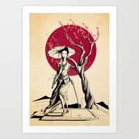 geisha Art Prints featuring Geisha by Rafapasta