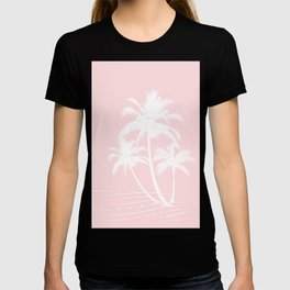 Millennial Pink White Tropical Palm Hawaii Illustration T-shirt