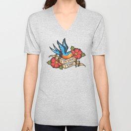 I Do What I Want Vintage Bluebird And Rose Tattoo Unisex V-Neck