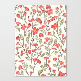 Red Botanical Pattern Canvas Print