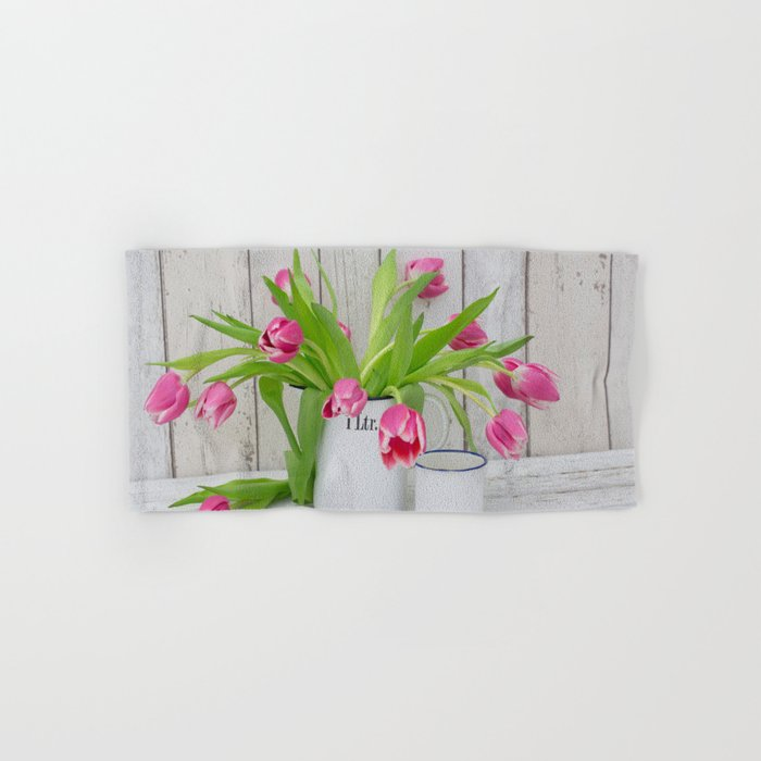 pink spring tulip still life country style Hand & Bath Towel
