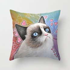 Grumpy Cat, This is my Happy Face Throw Pillow