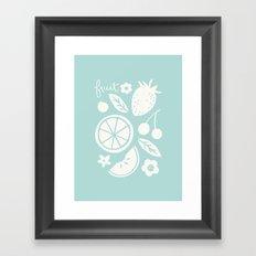 Fruit & Flowers - in Aqua Framed Art Print