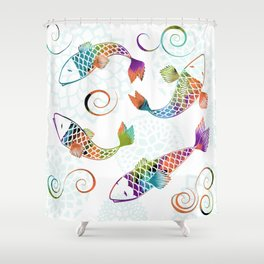 Koi - White Stream Shower Curtain