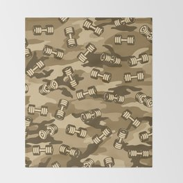 Dumbbell Gym Camo DESERT Throw Blanket